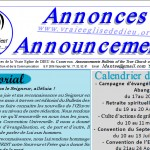 Announcements of April – May 2014.